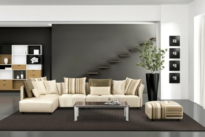 wohnideen wohnzimmer neutrale farben helle möbel dunkler teppich