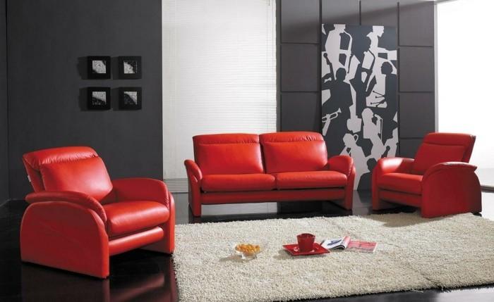 wohnideen wohnzimmer rote ledermöbel dunkelgraue wände heller teppich
