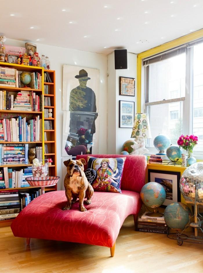 wohnideen wohnzimmer roter sessel globen dekoideen