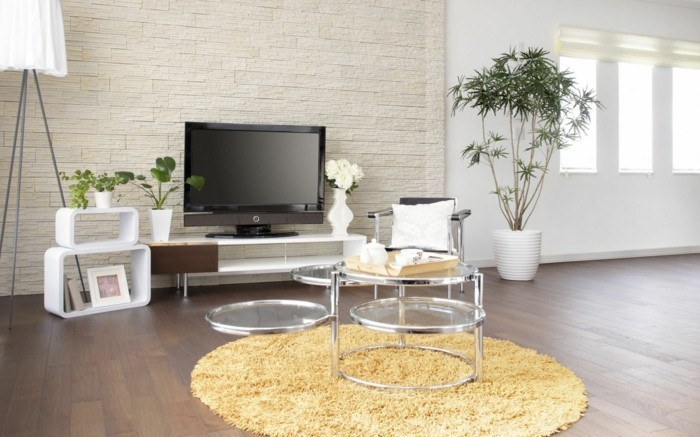 Wohnideen Wohnzimmer Runder Teppich Fernseher Pflanzen