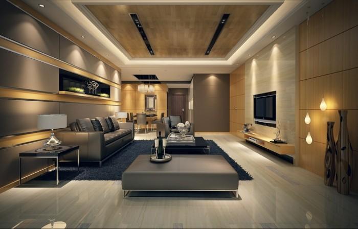 wohnideen wohnzimmer schöner bodenbelag einbauleuchten