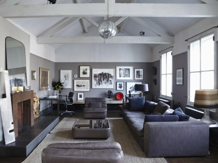 wohnideen wohnzimmer schicke graue möbel und graue wandfarbe
