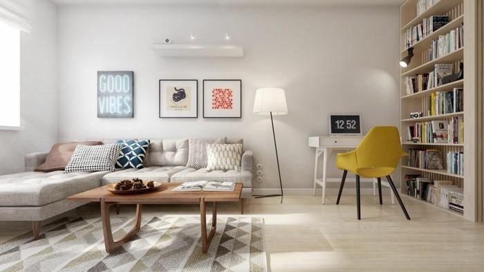 wohnideen wohnzimmer skandinavisch geometrischer teppich helle wände