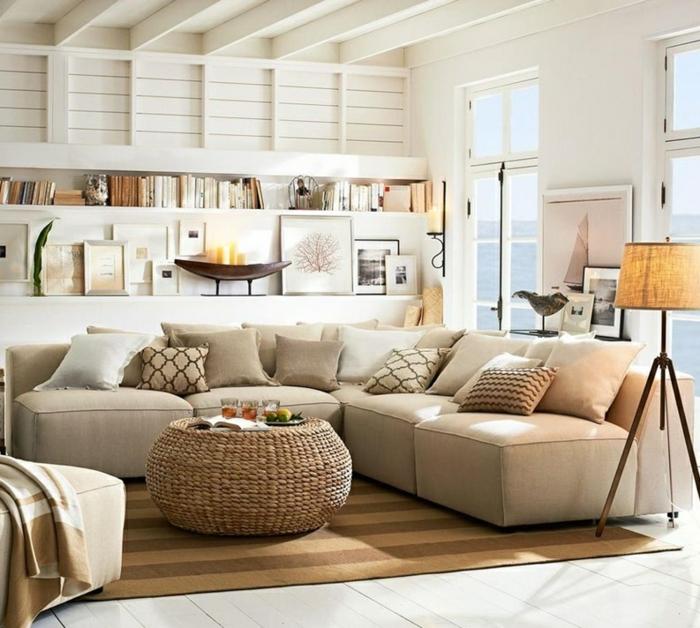 Einrichtungsideen Wohnideen Wohnzimmer Streifenteppich Ecksofa
