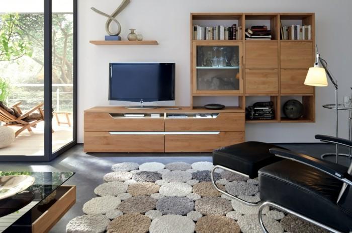 wohnideen wohnzimmer teppich grauer bodenbelag wandregale