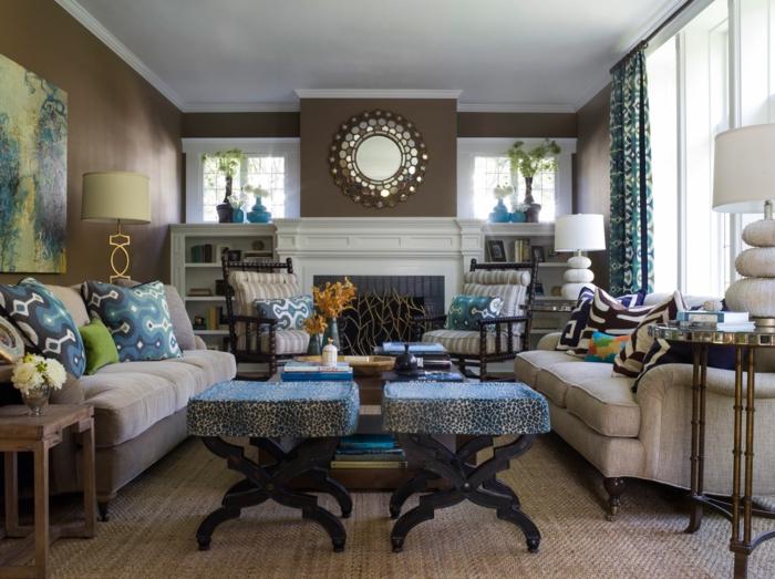 Wohnideen Wohnzimmer Wände Braun Schöne Stoffmuster Sisalteppich