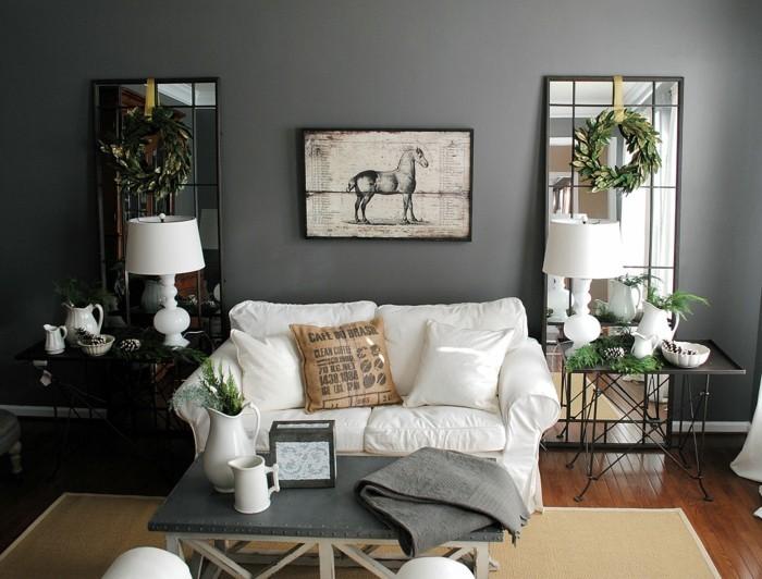 wohnideen wohnzimmer wände grau sisalteppich spiegel pflanzen