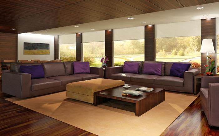 Wohnideen Wohnzimmer Wandgestaltuhng Decke Heller Teppich Braunnuancen