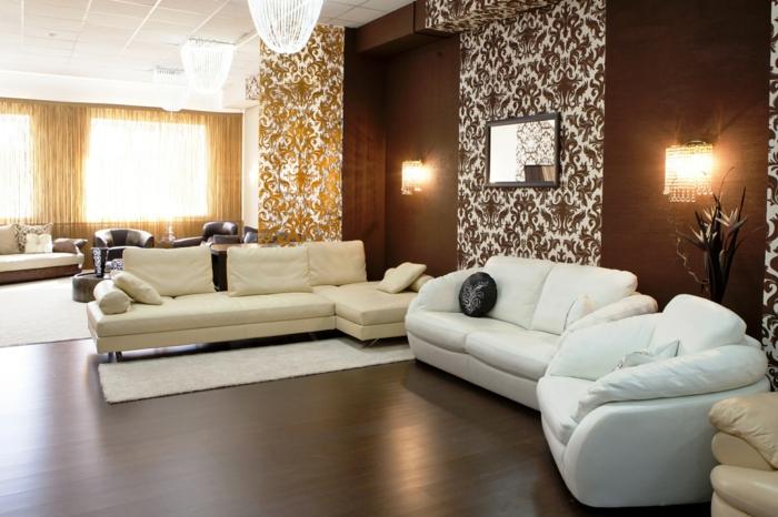 wohnideen wohnzimmer wandgestaltung braun schöne trennwand bereiche absondern