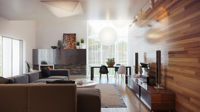 wohnideen wohnzimmer wandgestaltung ideen holzoptik feuerstelle