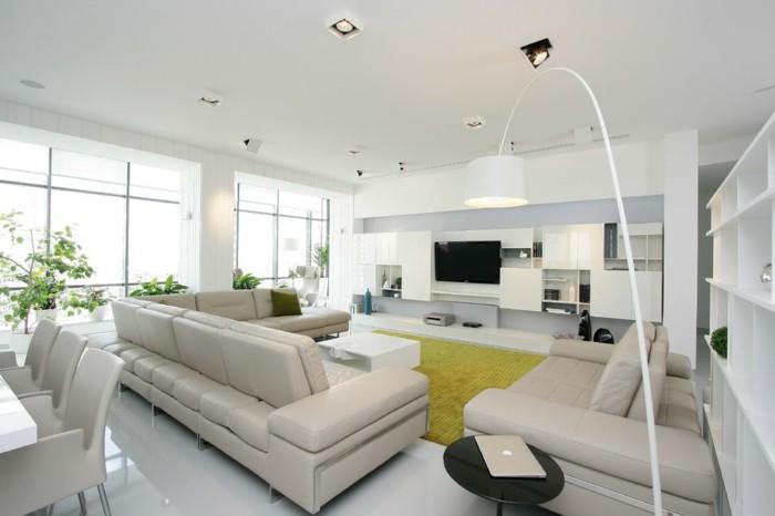 wohnideen wohnzimmer weiße möbel grüner teppich