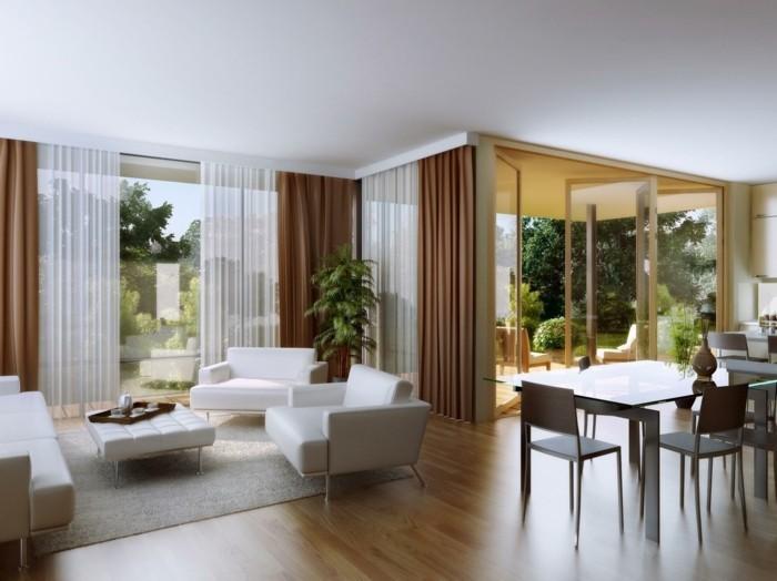 wohnideen wohnzimmer offener wohnplan weiß braun