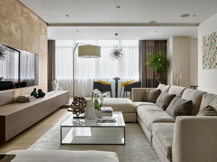 wohnideen wohnzimmer weißer teppich blumendeko
