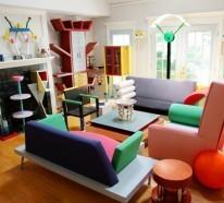 Wohnung einrichten ideen in memphis stil for Wohnzimmer 80er stil