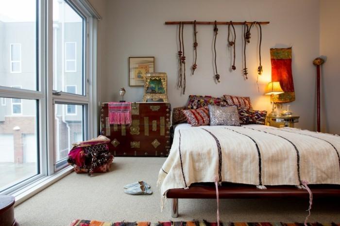 wohnungseinrichtung bohemian style schlafzimmereinrichtung wanddekoration dekokissen
