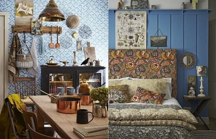 wohnungseinrichtung bohemian style wandgestaltung holzverkleidung tapete esszimmer schlafzimmer