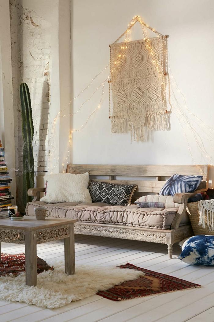 wohnungseinrichtung boho chic stil wohnzimmer ideen makramee wanddekoration