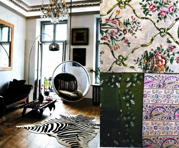 wohnungseinrichtung boho chic stil wohnzimmer ideen zebra teppich