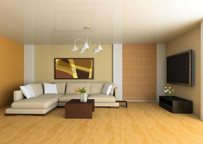 Wohnzimmer Beige Brauner Couchtisch Minimlaistisch