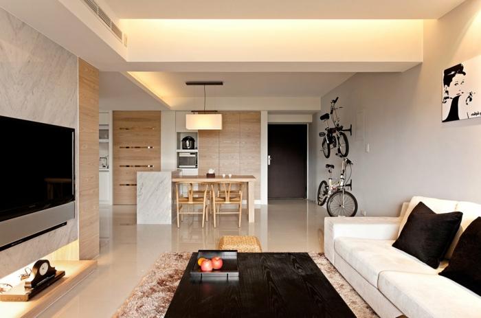 wohnzimmer beige dunkler couchtisch offener wohnplan
