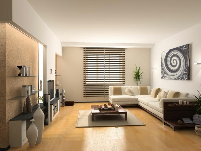 wohnzimmer beige helles ecksofa pflanzen wohnwand - Wohnzimmer Beige