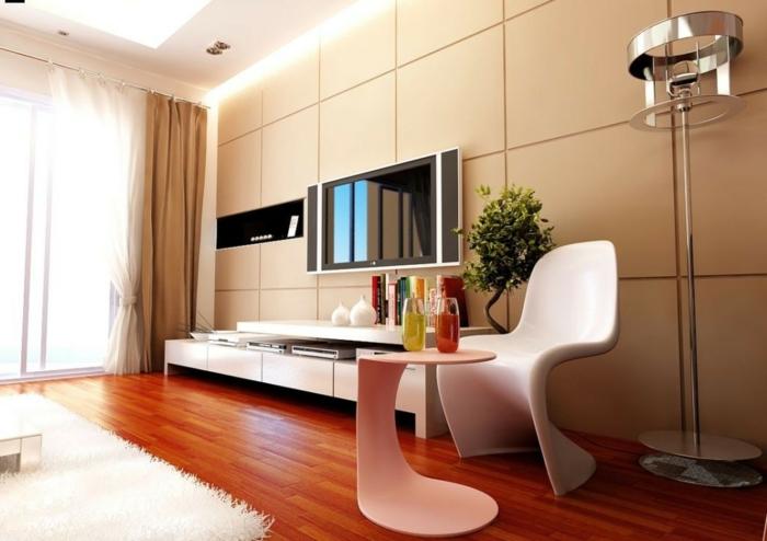 wohnzimmer beige wandpaneele wohnwand modulle pflanzen