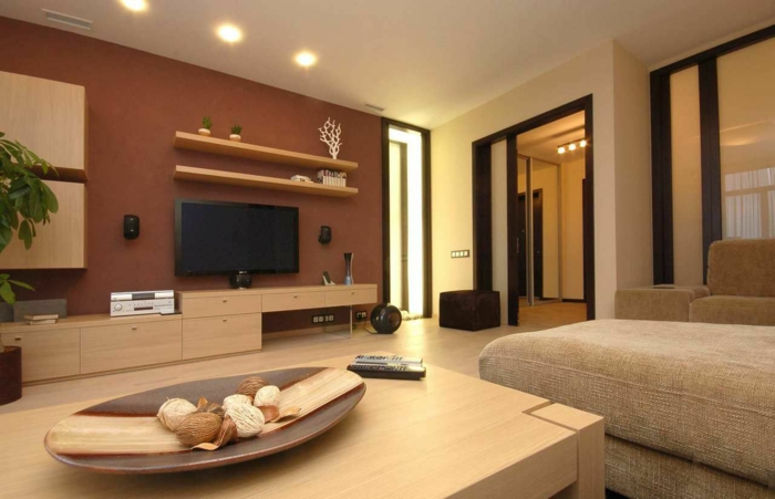 Awesome Wohnzimmer Braun Akzentwand Moderne Wohnwand Awesome Design