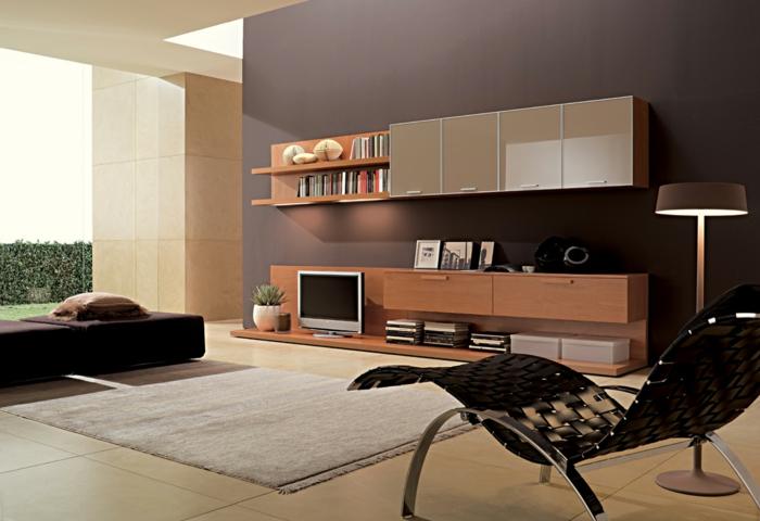 wohnzimmer braun akzentwand heller teppich moderne wohnwand - Wohnzimmer Braun Beige