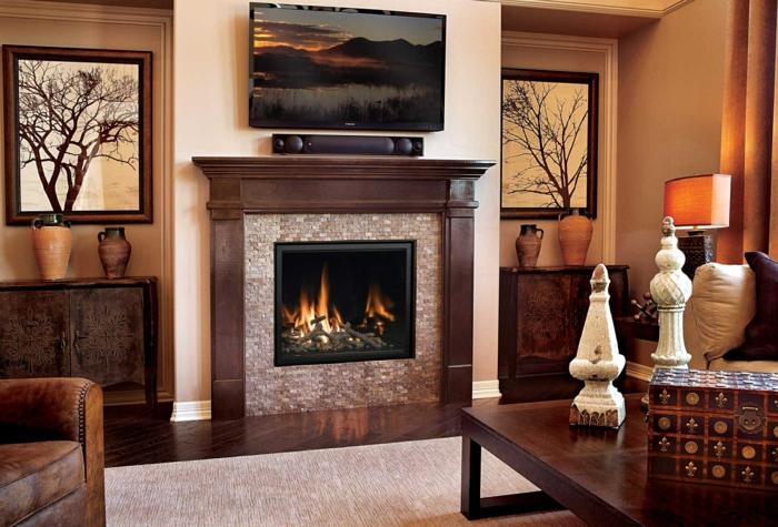 wohnzimmer braun kamin wohnzimmerdeko braune möbel helle wände