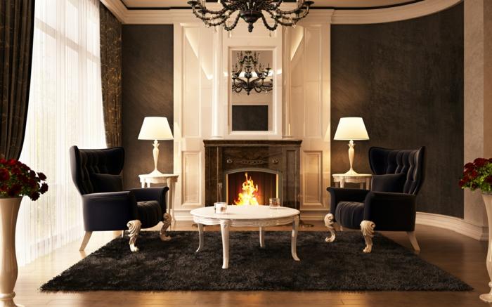wohnzimmer braun schick luxuriös teppich kamin