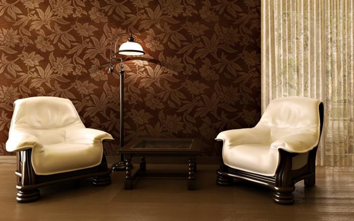 wohnzimmer braun wanddesign wandtapete florales muster - Wohnzimmer Braun