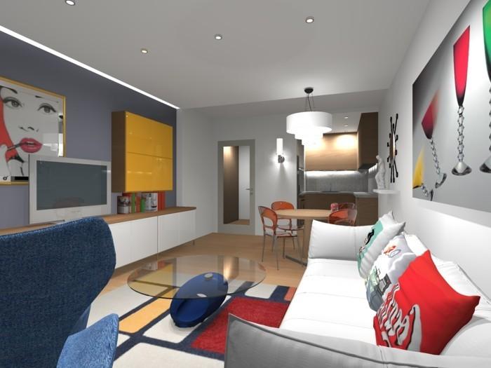 wohnzimmer grau akzentwand farbige akzente