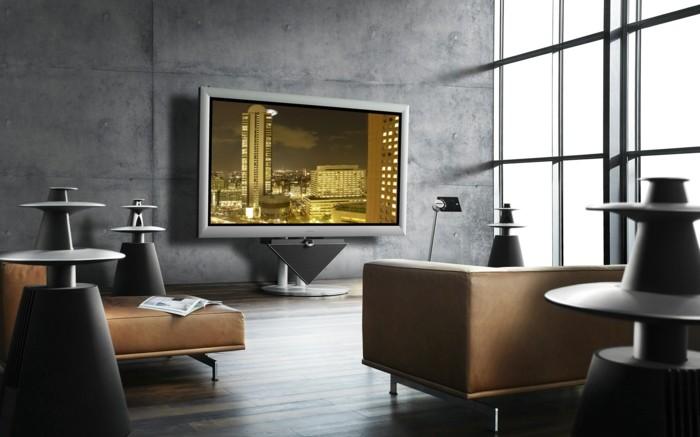 wohnzimmer grau beige ledermöbel graue wände fernseher
