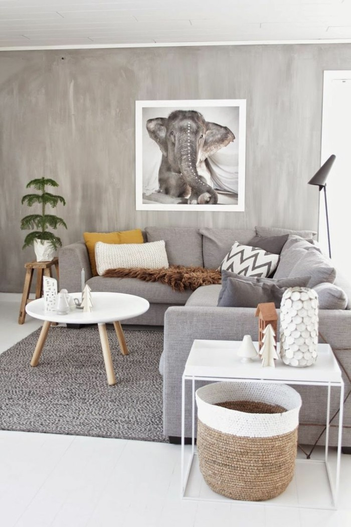 Wohnzimmer Grau Grauer Teppich Weißer Bodenbelag Skandinavisch