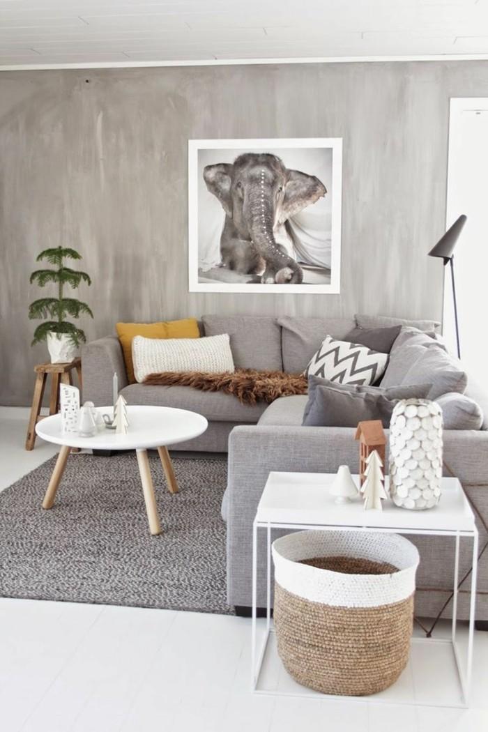 Gut Wohnzimmer Grau Grauer Teppich Weißer Bodenbelag Skandinavisch