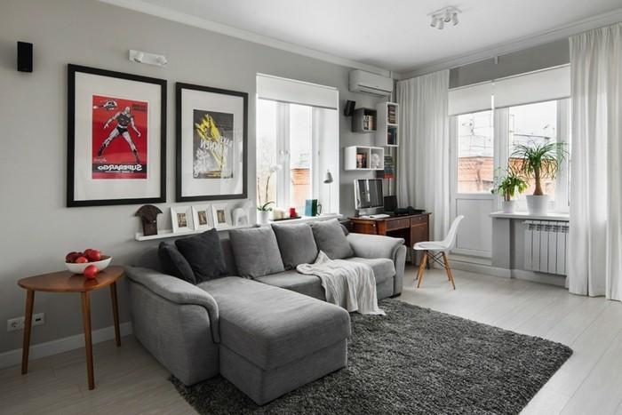 wohnzimmer teppich grau:wohnzimmer grau graues ecksofa teppich weiße gardinen