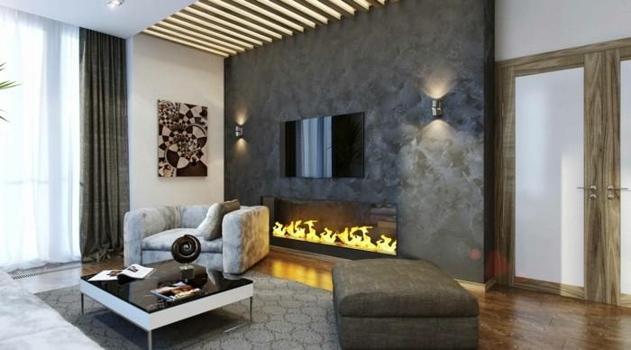 wohnzimmer grau kamin schöne zimmerdecke gardinen teppich