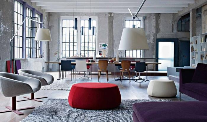 GroBartig Wohnzimmer Grau Loft Wohnung Mit Frischen Farbigen Akzente Wohnzimmer Grau  U2013 In 55 Beispielen Zeigen Wir, ...