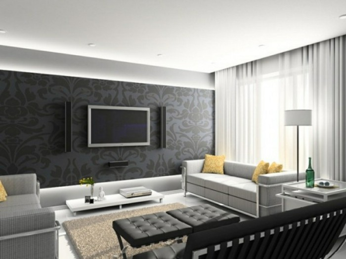 Wohnzimmer Grau Wandtapete Beiger Teppich Gelbe Dekokissen Fernseher