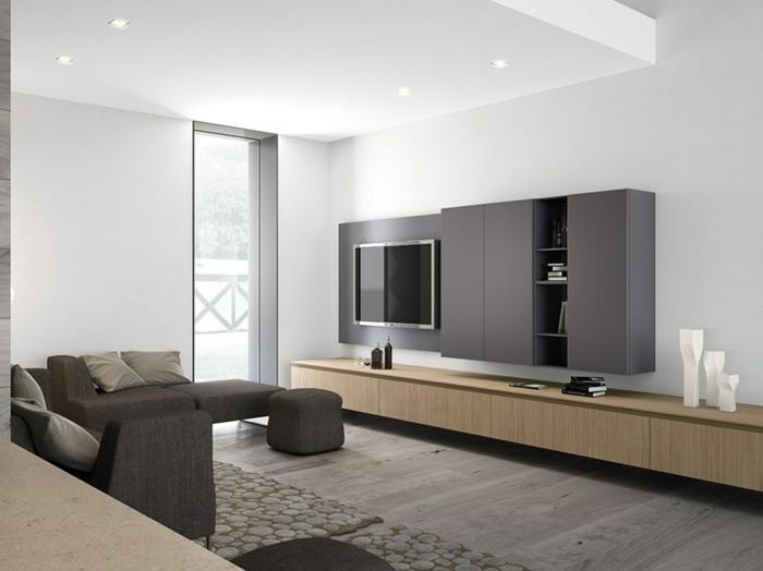 wohnzimmer graugraue möbel weiße wände