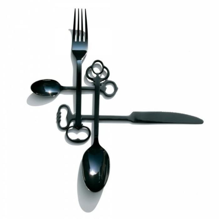 Besteckset Tischdecken Besteck kaufen außergewöhnliches Besteck schwarz