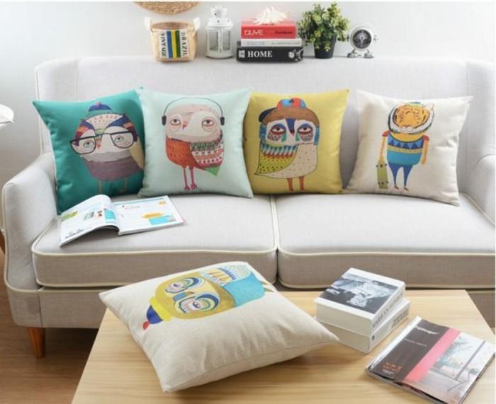 Bilder Eulen Accessoires Deko Ideen Wohnzimmer Kissen Eule