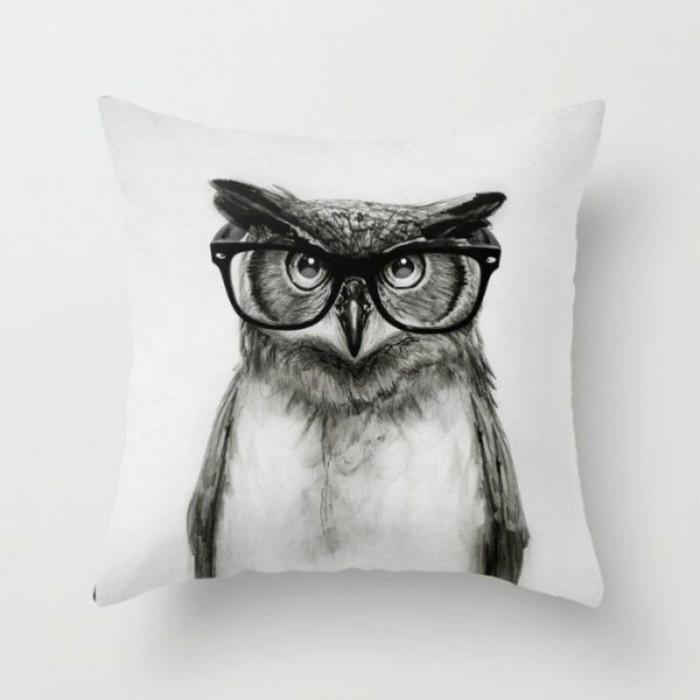 Bilder Eulen Accessoires Sofa Kissen Eule mit Brille