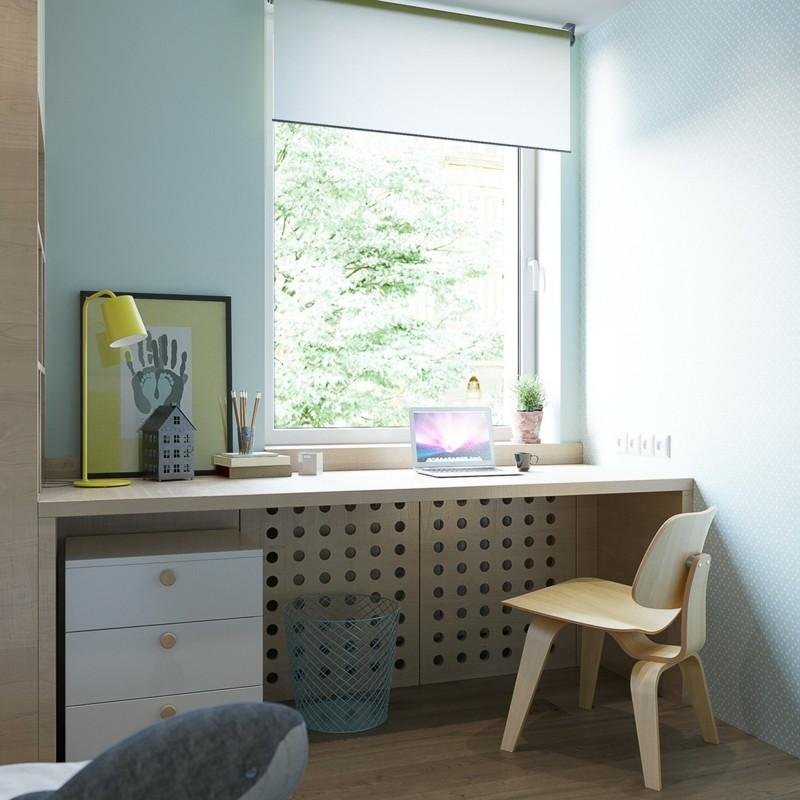 Kinderzimmer skandinavisch einrichten Kinderzimmermöbel Schreibtisch am Fenster