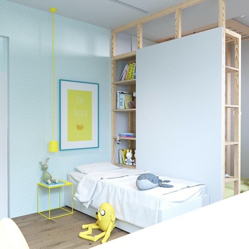 Kinderzimmer skandinavisch einrichten grelle Farben skandinavische Deko