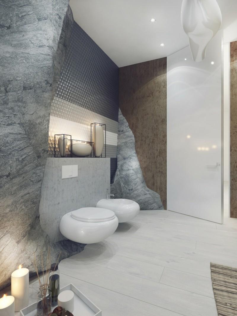 Luxus Badezimmer Einrichtung Bad Höhle neutralle Farben