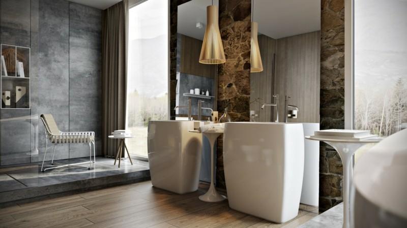 Luxus Badezimmer Einrichtung rustikaler Stil Holz beton Wände
