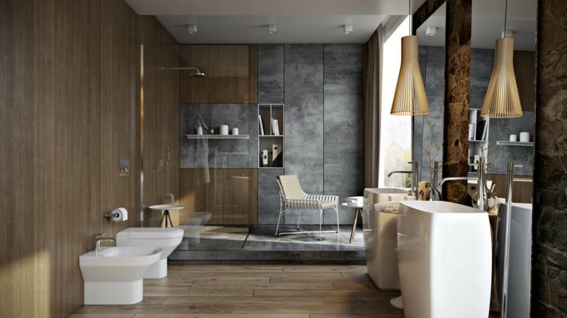 Luxus Badezimmer Holzboden moderne Badeinrichtung Betonwand Dusche