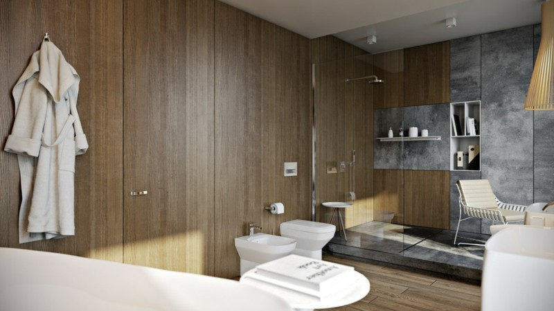 Luxus Badezimmer rustikaler Stil Holz beton Wände