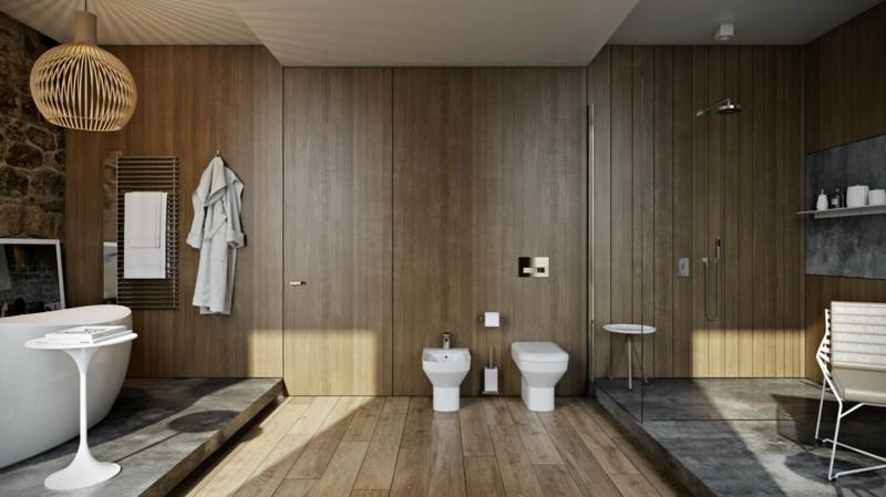 Luxus Badezimmer rustikaler Stil Holz moderne Badeinrichtung